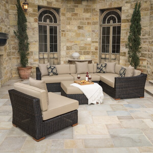 Monroeville 6 piece Rattan Sunbrella Sectional Set with Cushions by Darby Home Co