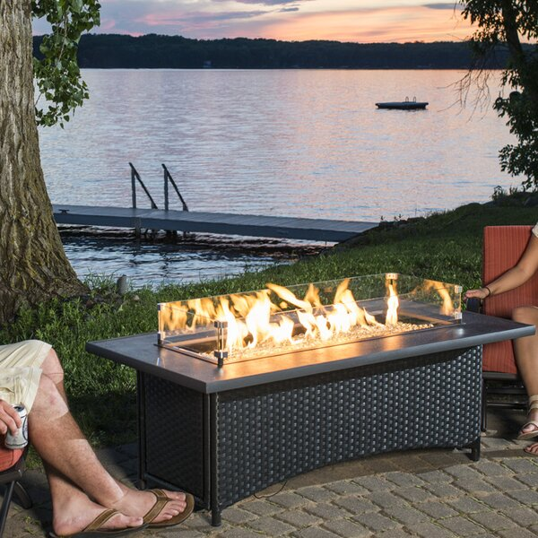 The Outdoor GreatRoom Company Montego Crystal Fire Pit Coffee Table With  Wicker Base U0026 Reviews | Wayfair