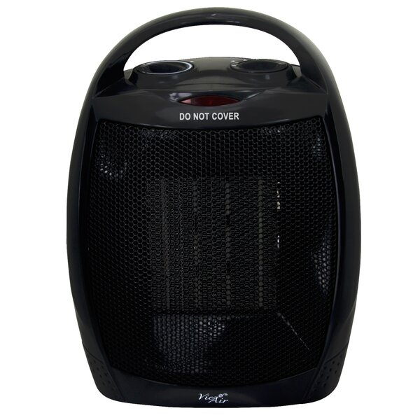 Portable 2 Settings Ceramic 1,500 Watt Electric Fan Compact Heater With Adjustable Thermostat By Vie Air
