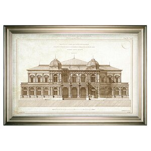 'Architecture Sketch I' Rectangle Framed Oil Painting Print on Wrapped Canvas by Darby Home Co