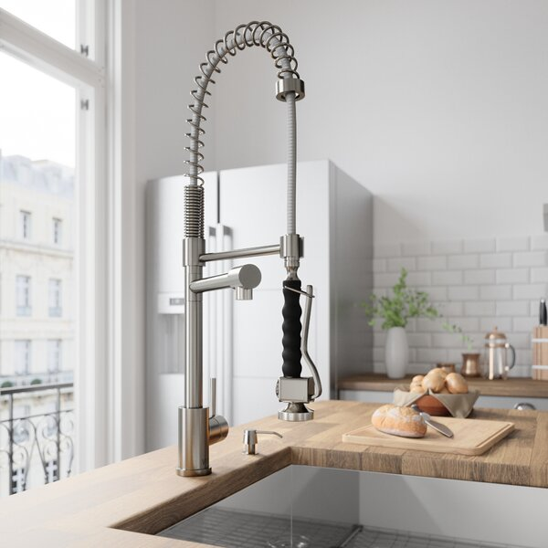 Zurich Pull Down Single Handle Kitchen Faucet with Optional Soap Dispenser by VIGO