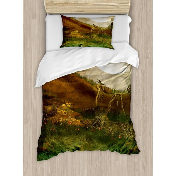 Nature Exquisite Valley with Giant Full Moon Sky Enchanted Fantasy Scenery Duvet Set by Ambesonne