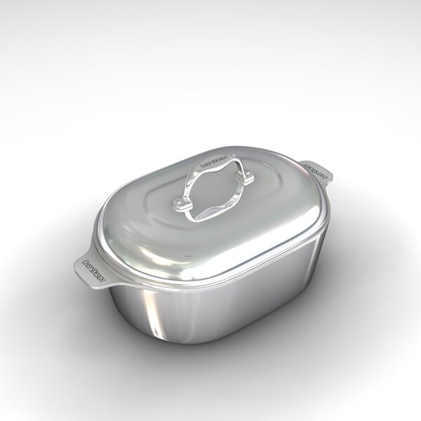 Gourmet 16.5 Heavy Cast Aluminum Covered Oval Roaster with Non-Stick Interior by Chef's Design