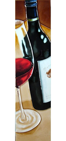 Wine Bottle and Glass Tile Wall Decor by Continental Art Center