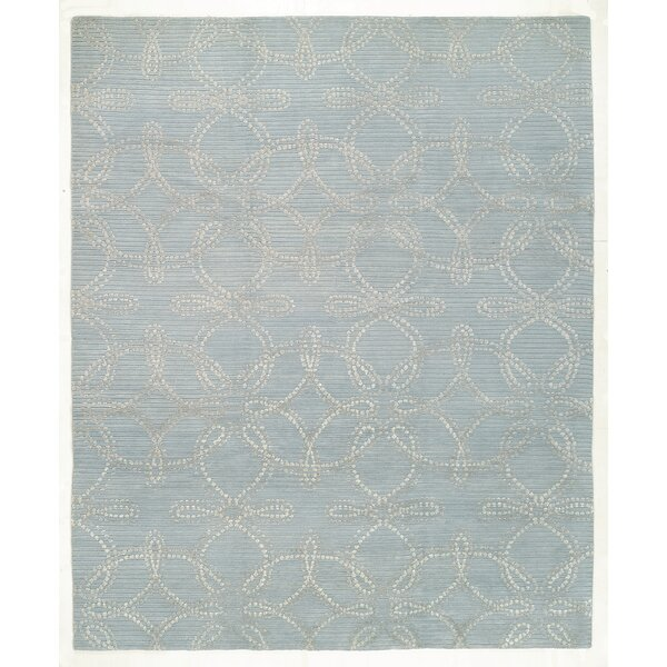 Hand-Knotted Wool/Silk Blue Indoor/Outdoor Area Rug