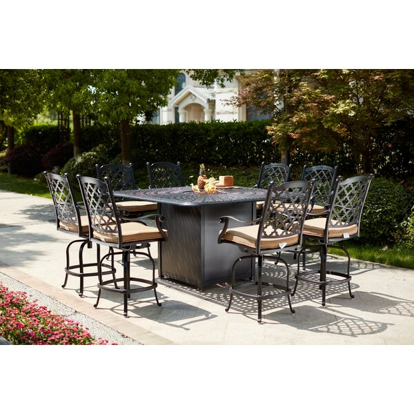 Millwood 9 Piece Bar Height Dining Set with Firepit by Canora Grey