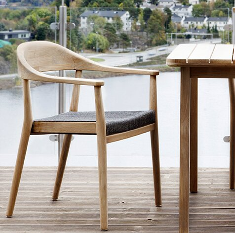 Skagen Stacking Teak Patio Dining Chair with Cushion by OASIQ OASIQ