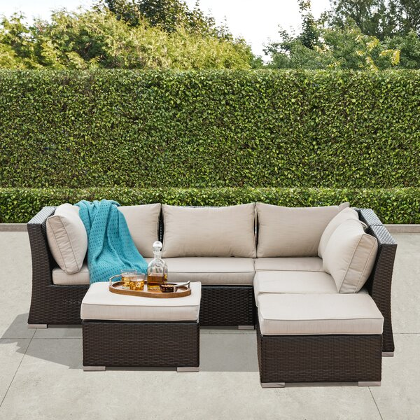 Chaunte 6 pieces Rattan Sectional Seating Group with Cushions by Darby Home Co