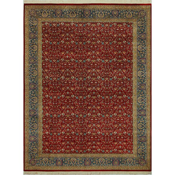 Bellville Persian Hand-Knotted Wool Red/Teal Area Rug by Astoria Grand