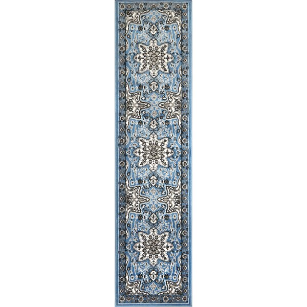 Arend Light Blue/Black Area Rug by Charlton Home