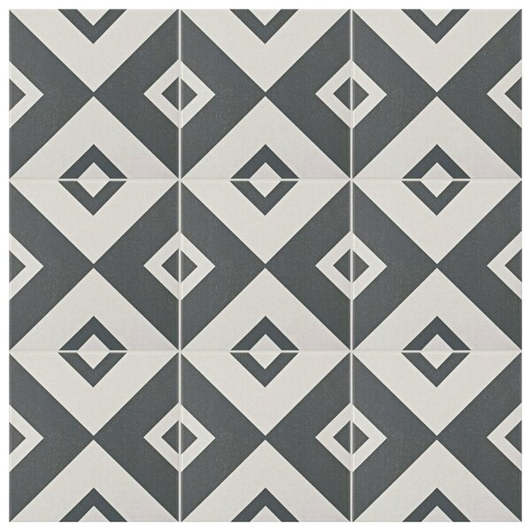Forties 7.75 x 7.75 Ceramic Field Tile in Vertex White/Gray by EliteTile