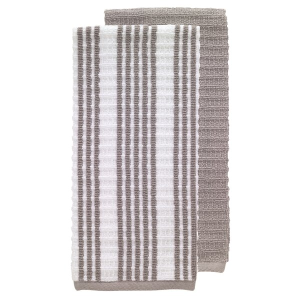 2 Piece Solid and Stripe Waffle Terry Kitchen Dishcloth Set by T-fal