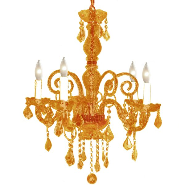 Krystal 5-Light Candle Style Chandelier by Pangea Home
