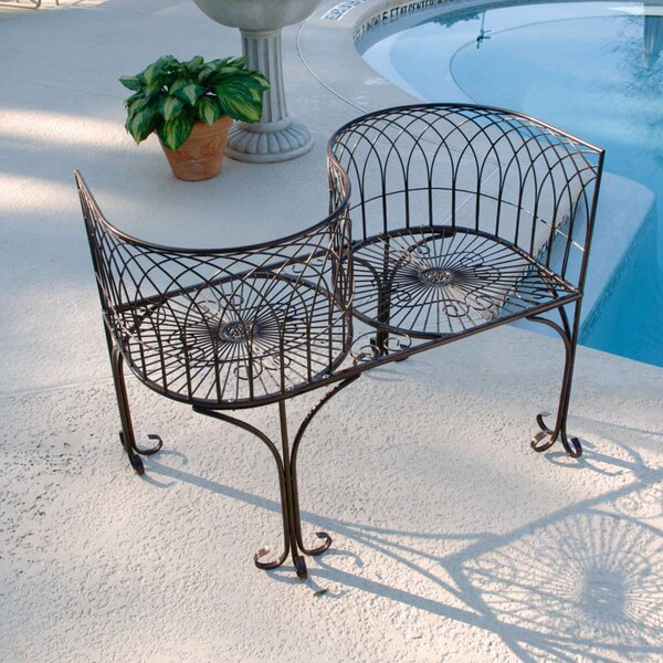 Tete a Tete Kissing Metal Garden Bench by Design Toscano