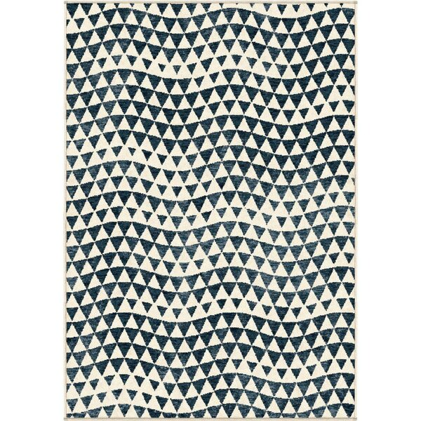 Ailani Seashell Beige/Blue Indoor/Outdoor Area Rug by Bungalow Rose