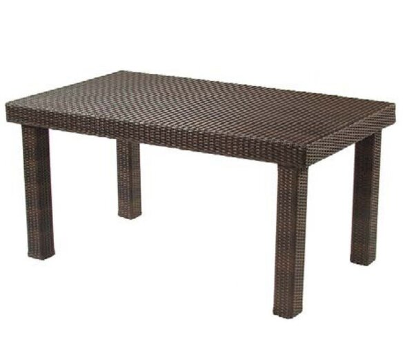 All-Weather Rectangular Wicker Rattan Dining Table by Woodard