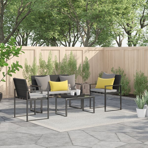 OKean Outdoor Conversation 4 Piece Sofa Seating Group with Cushions by Zipcode Design