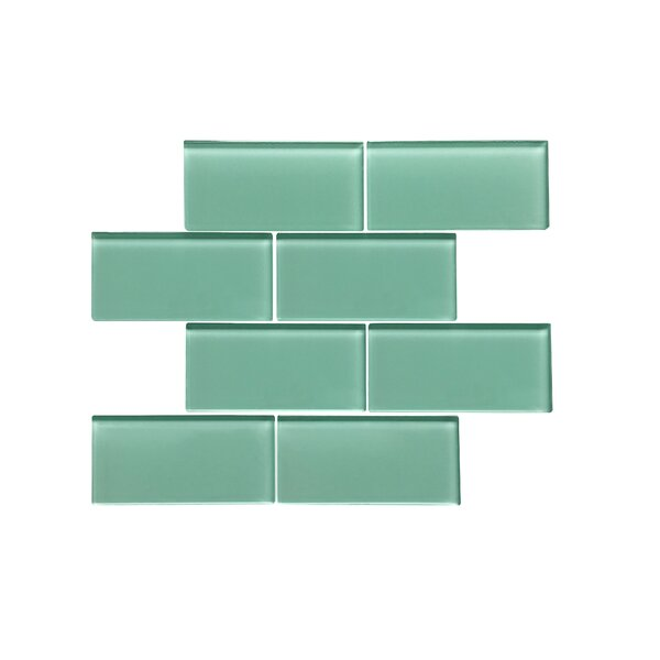 Premium Series 3 x 6 Glass Subway Tile in Glossy Light Teal by WS Tiles