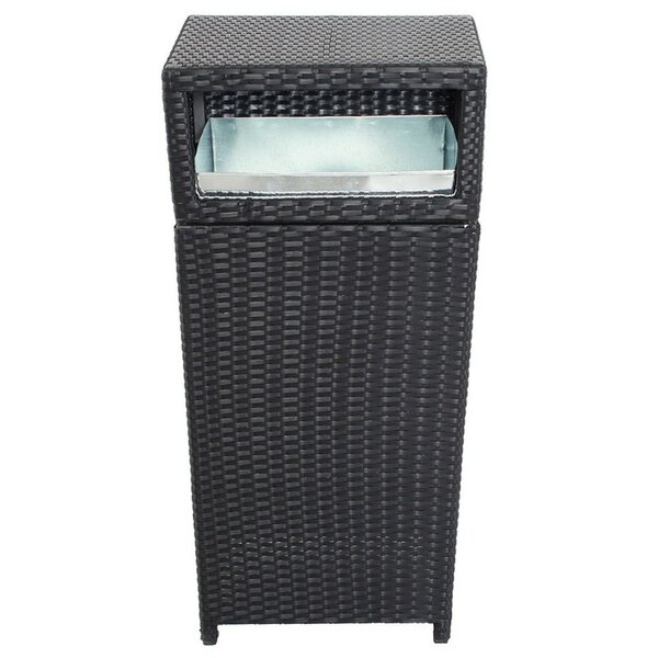 Outdoor Rattan and Aluminum Trash Can by Benzara