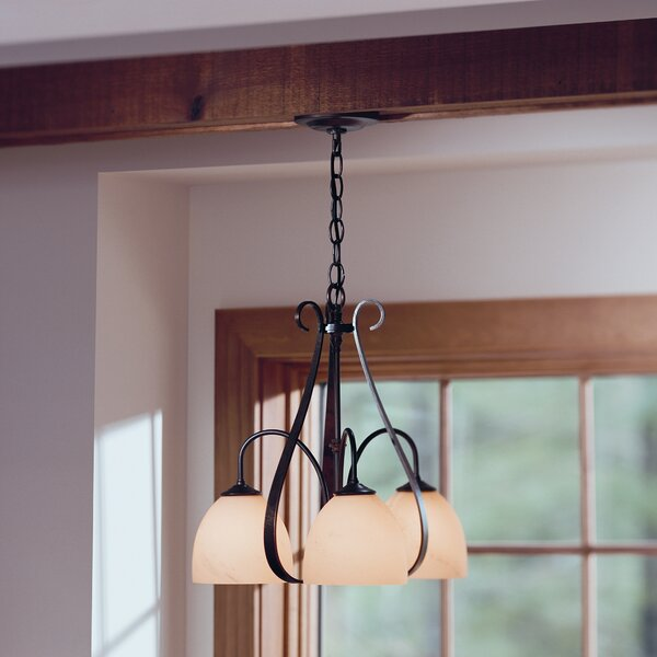 3 - Light Shaded Classic / Traditional Chandelier By Hubbardton Forge