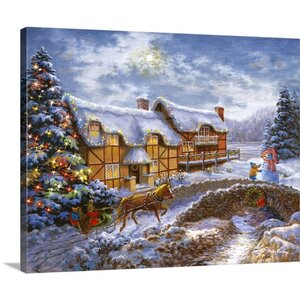 Christmas Art Country Cottages by Nicky Boehme Painting Print on Wrapped Canvas by Great Big Canvas