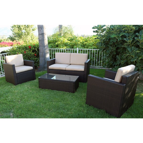 Robynn 4 Piece Rattan Sofa Set with Cushions by Latitude Run