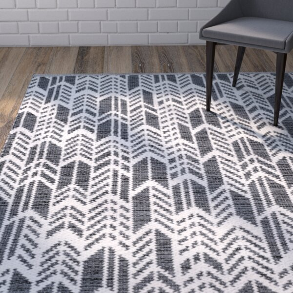 Paz Hand-Woven Black/Ivory Area Rug by Wrought Studio