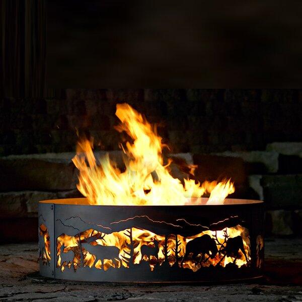 Fighting Elk Steel Wood Burning Fire ring by P & D Metal Works