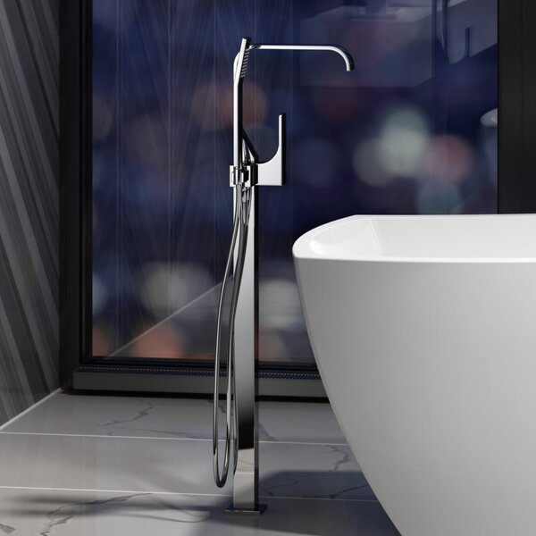 Double Handle Floor Mounted Freestanding Tub Filler With Hand Shower By JACUZZI®