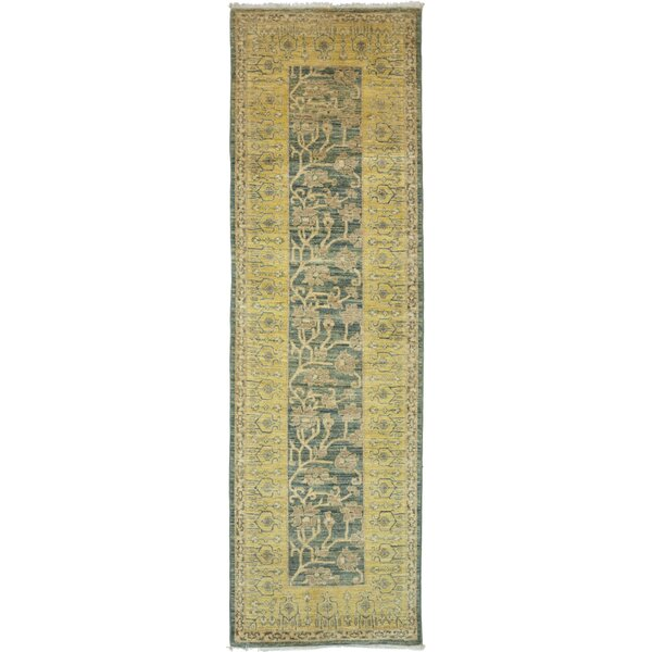 One-of-a-Kind Derosier Hand-Knotted Yellow / Blue Area Rug by Isabelline