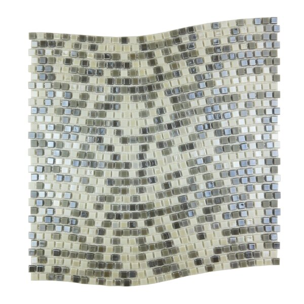 Galaxy Wavy 0.31 x 0.31 Glass Mosaic Tile in Gray/Cream by Abolos