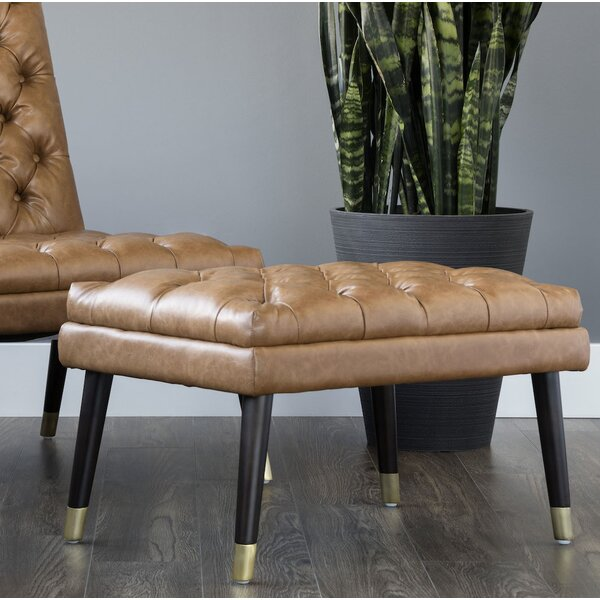 Free S&H Anirudh Leather Tufted Cocktail Ottoman