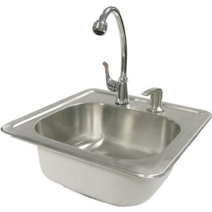 Outdoor Stainless Steel Sink with Faucet and Soap Dispenser