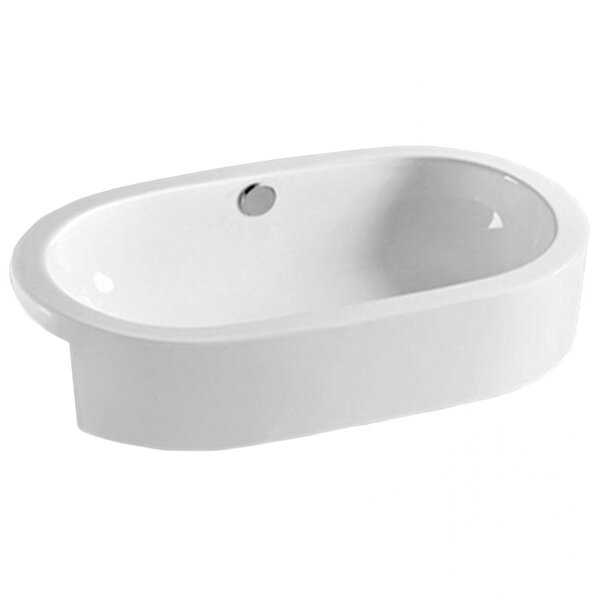 Semi-Recessed for Drilling Ceramic Oval Vessel Bathroom Sink with Overflow