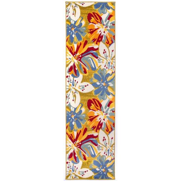 Carmona Contemporary Floral Cream/Red Area Rug by Ebern Designs