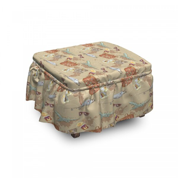 Plane Bag Camera World Map Ottoman Slipcover (Set Of 2) By East Urban Home
