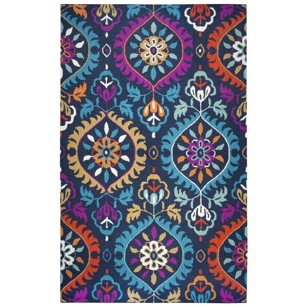 Duron Hand-Tufted Wool Navy/Pink Area Rug by Bungalow Rose