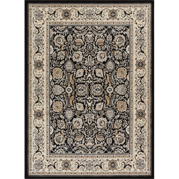 Persa Tabriz Oriental Persian Black/Beige Area Rug by Well Woven