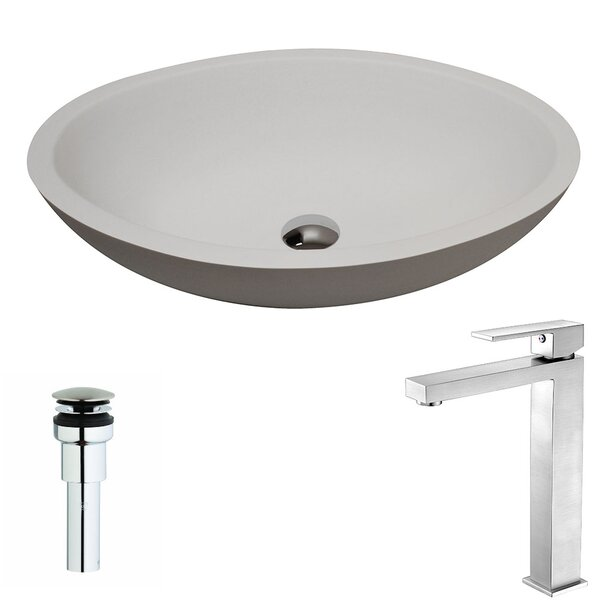 Maine Stone Oval Vessel Bathroom Sink with Faucet by ANZZI