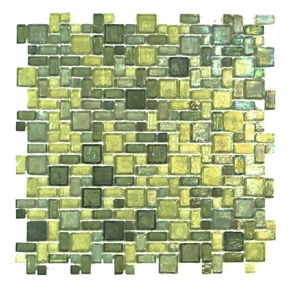 Classic Recycled Random Sized Glass Mosaic Tile in Green Mix by Abolos