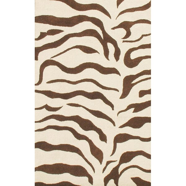 Earth Zebra Print Hand-Tufted Wool Brown Area Rug by nuLOOM