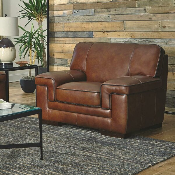 Grand Isle Leather Upholstered Armchair by Trent A