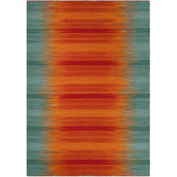 Sojourn Hand-Woven Teal/Red Area Rug by Ivy Bronx