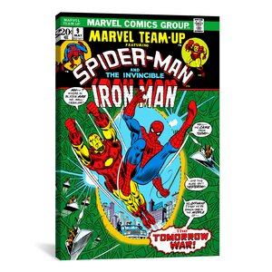 Marvel Comic Book Spider-Man Marvel Team Up Issue Cover #9 Graphic Art on Wrapped Canvas