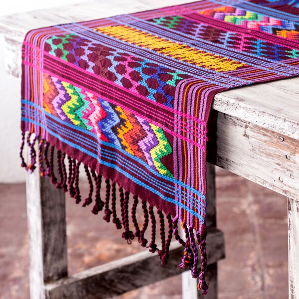 Colorful Quetzal Central American Handwoven Cotton Table Runner by Novica