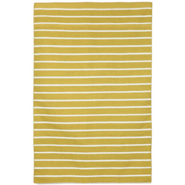 Ranier Pinstripe Hand-Woven Yellow/Ivory Indoor/Outdoor Area Rug by Beachcrest Home