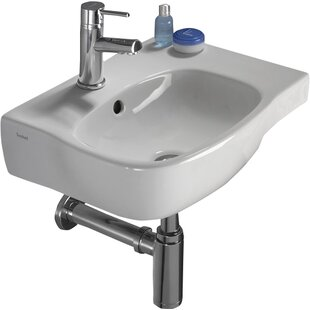 Moda Vitreous China 18 Wall Mount Bathroom Sink with Overflow Bissonnet