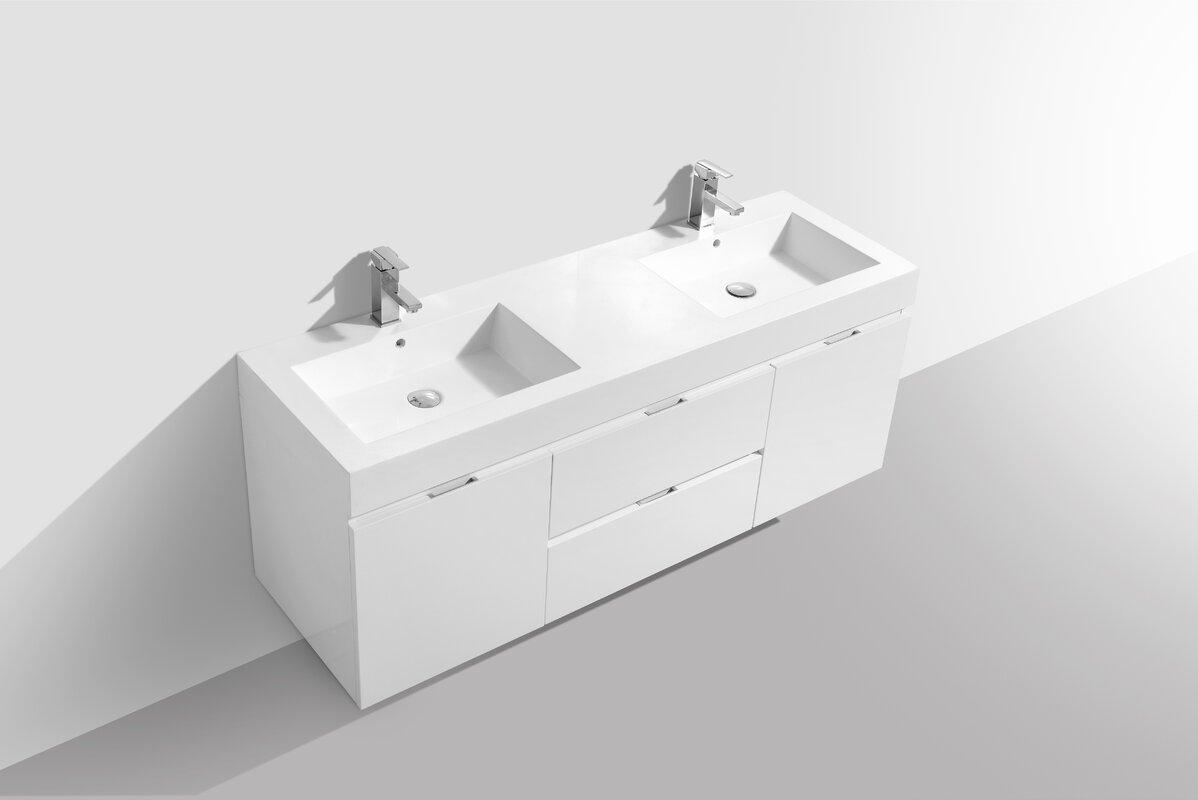 double bathroom vanity set. Tenafly 59  Wall Mounted Double Bathroom Vanity Set Reviews