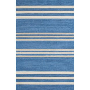 Reviews Parallel Hand-Woven Blue/White Indoor/Outdoor Area Rug By Panama Jack Home