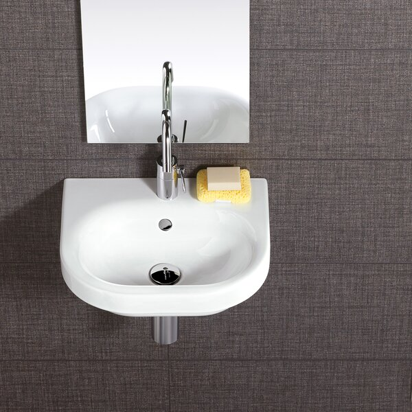 Pro Vitreous China 18 Wall Mount Bathroom Sink with Overflow by Bissonnet